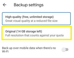 Cómo cambiar las fotos de Google de alta calidad a originales 9
