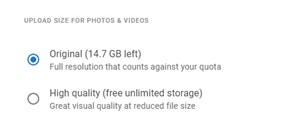 Cómo cambiar las fotos de Google de alta calidad a originales 2